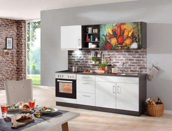 HELD MÖBEL Küchenzeile mit E-Geräten »Paris Chili«, Gesamtbreite 210 cm