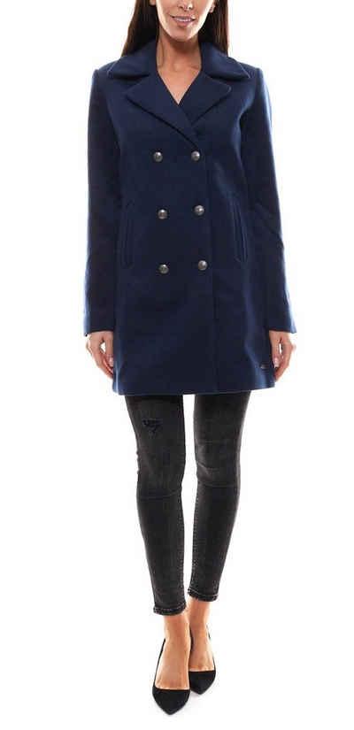 TOM TAILOR Parka »TOM TAILOR Mantel weicher Parka für Damen mit doppelreihigen Knöpfen Trenchcoat Blau«