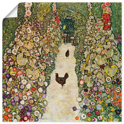 Artland Wandbild »Gartenweg mit Hühnern«, Vögel (1 Stück), in vielen Größen & Produktarten -Leinwandbild, Poster, Wandaufkleber / Wandtattoo auch für Badezimmer geeignet