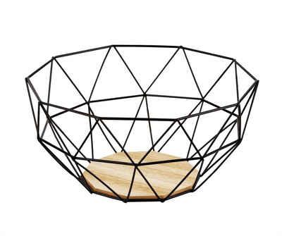 Kapimex Obstschale »Obstkorb Ø 24 cm aus schwarzem Metall mit Holzboden − Deko Brotkorb Gemüsekorb«, Metall / Holz
