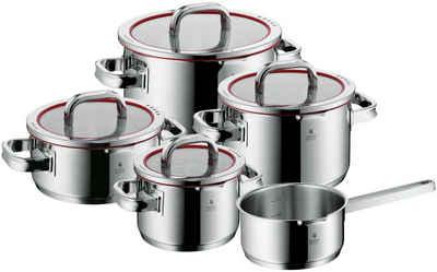WMF Topf-Set »Function 4«, Cromargan® Edelstahl Rostfrei 18/10, (Set, 9-tlg), Deckel mit 4 Funktionen zum wasserarmen Garen und kontrollierten Ausgießen, Induktion