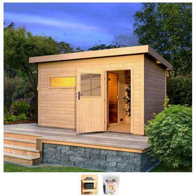 Karibu Saunahaus »Uwe 3«, BxTxH: 433 x 262 x 227 cm, 38 mm, ohne Ofen, mit Saunafenster 40x1220x420 mm in Klarglas naturbelassen