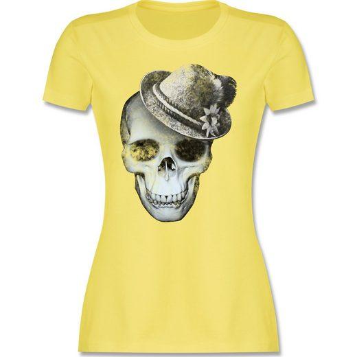 Shirtracer T-Shirt »Totenkopf mit Filzhut - Damen Premium T-Shirt - T-Shirts« Oktoberfest Damen