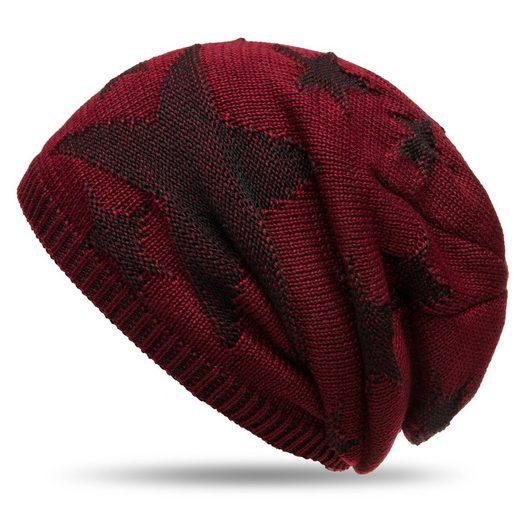 Caspar Beanie »MU152 warme Feinstrick Mütze mit Stern Muster und weichem Fleece Innenfutter«