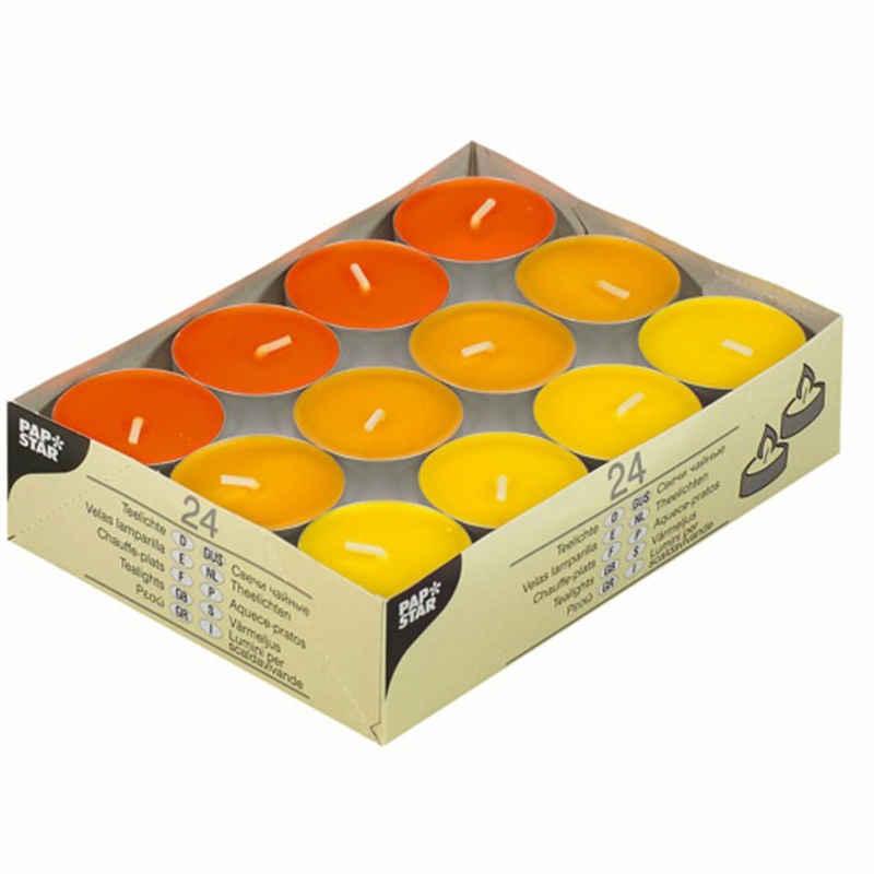 PAPSTAR Teelicht »24 Teelichter Gelb, Orange, Borneo 38mm Ø, h=16mm«