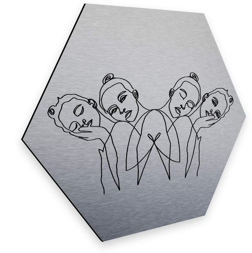 Wall-Art Metallbild »United Girls Silber Hexagon Deko«, (1 Stück)