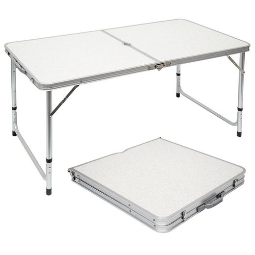 AMANKA Campingtisch »Klappbarer stabiler Campingtisch höhenverstellbar«, 120x60x70 cm Aluminium Grau