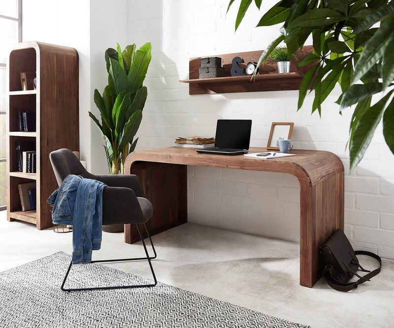 DELIFE Schreibtisch »Wally«, Akazie Braun 160x75x75 cm Massivholz Schreibtisch