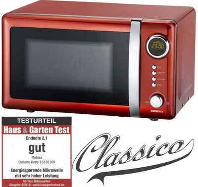 MELISSA Mikrowelle 16330109 Classico Retro 20 Liter Mikrowellein Red Metallic