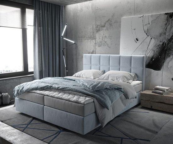 DELIFE Boxspringbett »Dream-Fine«, Pastellblau 160x200 cm mit Matratze und Topper Boxspringbett