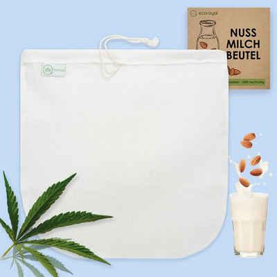 ecoroyal Passiersieb »Ecoroyal Nussmilchbeutel Bio waschbar hochwertiger Nussmilch Beutel aus Hanf 30 cm Nut Milk Bag Passiertuch Mandelmilch Tuch Filtertuch Saft«, (Set, 1-St., Nussmlichbeutel)