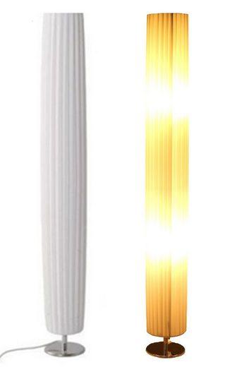 TRANGO LED Stehlampe, 120RL Design Plissee LED Standleuchte *NIZZA* Stehlampe inklusive 2x E27 LED Leuchtmittel, Wohnzimmer Lampe, Standleuchte rund – Durchmesser: 14cm Ø - H: 120cm