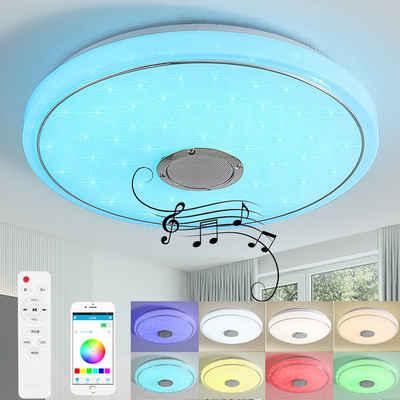 style home LED Deckenleuchte, 24W Deckenlampe mit Bluetooth Lautsprecher, Musik Lampe, RGB Farbwechsel, dimmbar mit Fernbedienung & APP Steuerung, Sternenlicht Ø 40cm