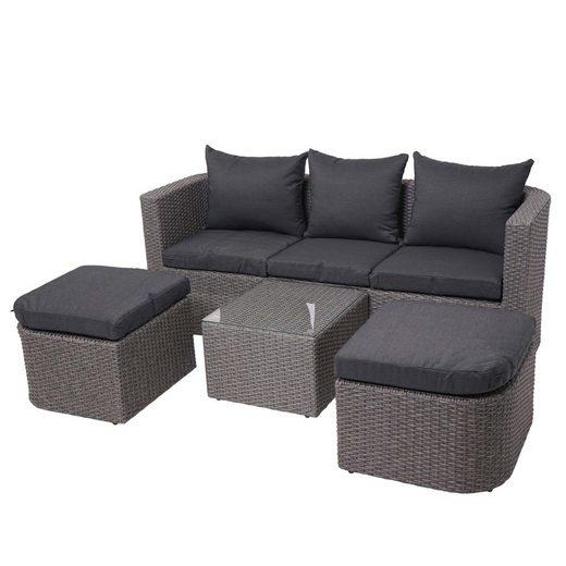 MCW Sitzgruppe »MCW-J37«, (4-tlg), Fünf Sitzplätze, Klappbarer Tisch, Mit 2 separaten Hockern, Maximale Belastbarkeit pro Sitzplatz: 120 kg