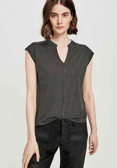 OPUS V-Shirt »Sandi checked« mit femininer Kräuselung an der Schulter