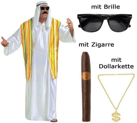 Scherzwelt Kostüm »Kostüm Scheich Größe XL - Ölscheich mit Brille, Zigarre, Kette«