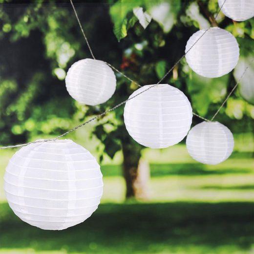 MARELIDA LED-Lichterkette »LED Lichterkette Lampion - 25 XXL Lampions mit warmweißer LED - outdoor - weiß«, 25-flammig