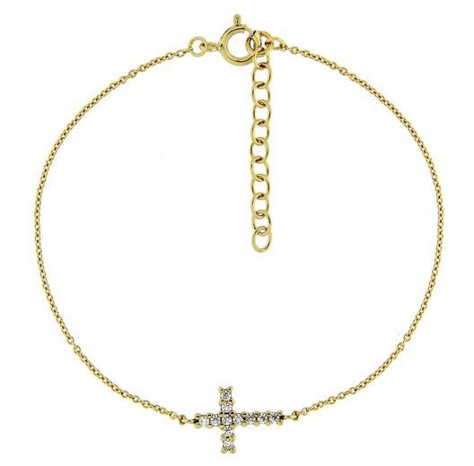 Smart Jewel Armband »Mittelteil Kreuz, Zirkonia Steine, Silber 925«