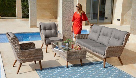 KONIFERA Loungeset »Malibu«, (14-tlg), 3er Sofa, 2 Sessel, Tisch, Polyrattan