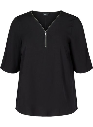 Zizzi Kurzarmbluse Große Größen Damen Einfarbige Kurzarm Viskose Bluse mit V Ausschnitt