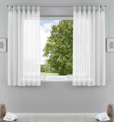 Gardine, Gardinenbox, Schlaufe (2 Stück), Transparent Vorhang Set Voile Bleibandabschluss verschiedene Höhen 61000CN