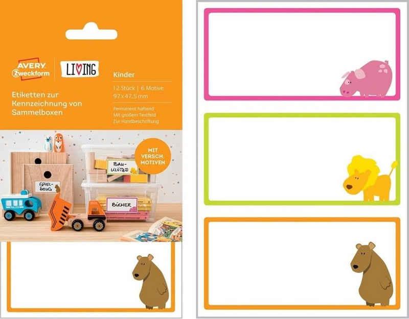 Avery Zweckform Etikettenpapier »Avery Zweckform 12 Bunte Kinder Namens-Aufkleber Sammelbox-Etiketten Haushalts-Etiketten Sticker«