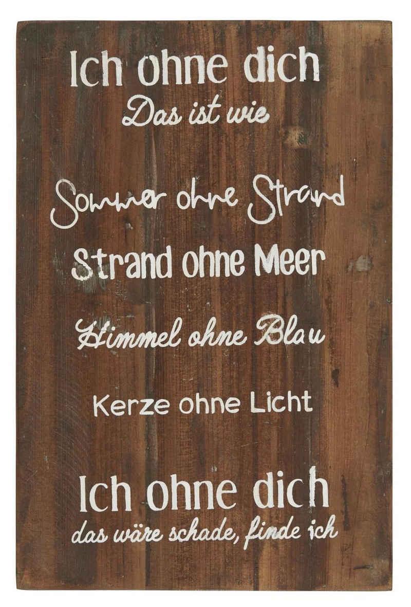 Ib Laursen Wandbild »Wandschild Holzschild Schild Dekoschild Holz ICH OHNE DICH Ib Laursen 5296-00«