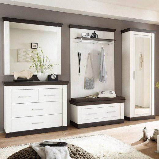 Lomadox Garderoben-Set »SALARA-61«, (Spar-Set, 5-tlg), Flur-im Landhaus-Stil in Pine weiß & Wenge Nb. B x H x T ca.: 307 x 201 x 45 cm