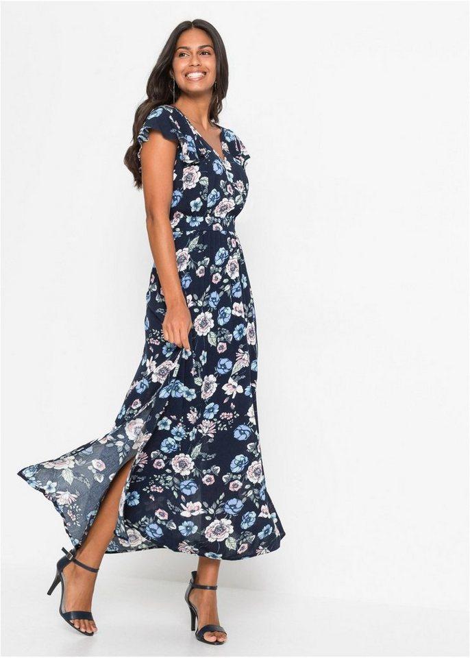 bonprix Maxikleid »Tailliertes Kleid mit V-Ausschnitt ...