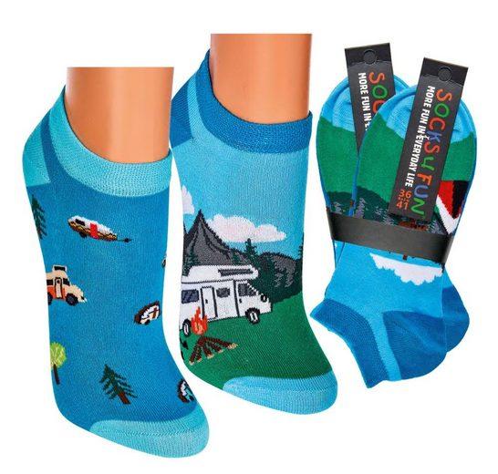Socks 4 Fun Sneakersocken »Sneaker Camping Motiv« (2-Paar)