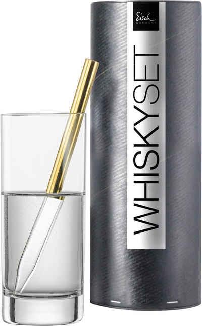 Eisch Whisky-Pipette »Gentleman« (Set, 2 Stück), Kristallglas, metallicbeschichtet, inkl. 1 Wasserglas, 190 ml