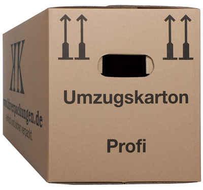 KK Verpackungen Aufbewahrungsbox (Spar-Set, 25 Stück, 25er-Set), Umzugskartons Umzugskiste Bücherkarton 2-wellig in Profiqualität Braun
