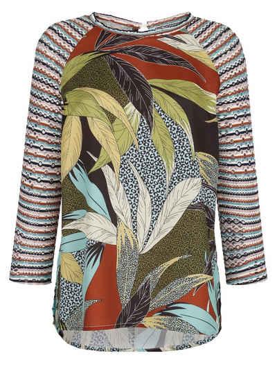 Alba Moda Blusenshirt mit Ärmeln aus Lochjersey
