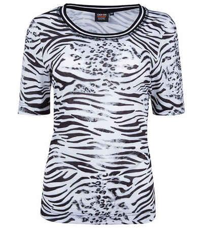 Canyon T-Shirt »CANYON Stretch T-Shirt animalisches Damen Sport-Shirt mit Zebra-Print Fitness-Shirt Weiß«