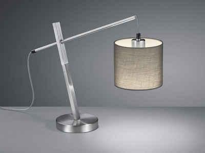 meineWunschleuchte LED Tischleuchte, mit Holz-Element, Skandi Lese-Lampe im Landhausstil, Lampenschirme Stoff Grau, Fensterbank, Große Textilkabel Lampe mit Schnur-Schalter, Einflammig
