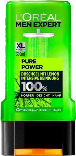 L'ORÉAL PARIS MEN EXPERT Duschgel »Pure Power Lemon«, entfernt Unreinheiten & Schweiß, regeneriert ohne auszutrocknen
