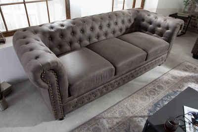 riess-ambiente Sofa »CHESTERFIELD 205cm vintage grau taupe«, mit Federkern