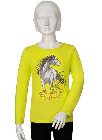 Trigema Langarmshirt mit Pferde-Motiv für Mädchen