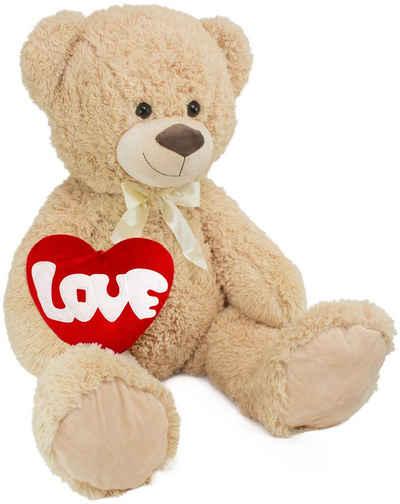 BRUBAKER Kuscheltier »XXL Teddybär 100 cm groß mit Love Herz« (1-St), Stofftier Plüschtier