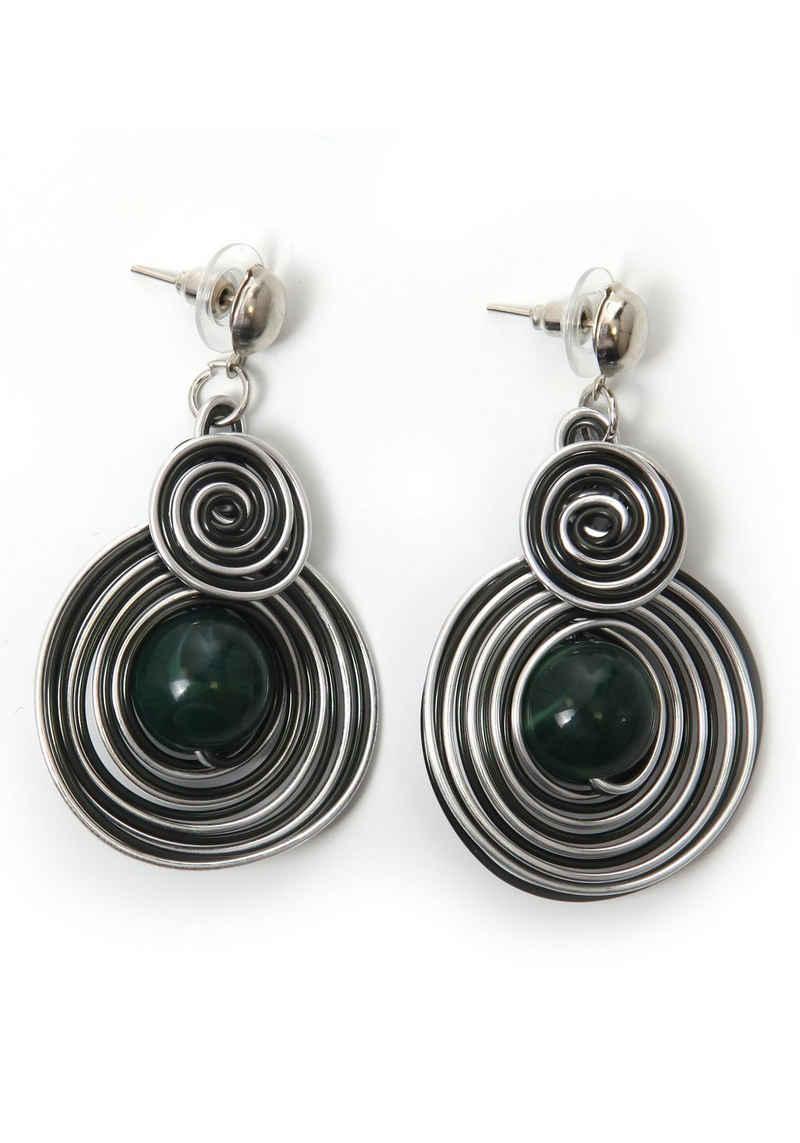 J.Jayz Paar Ohrstecker »Kreise, dunkelgrün, trendig«, mit Acrylperlen