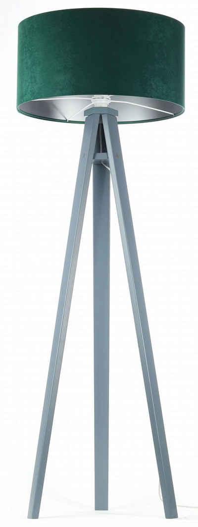 Jens Stolte Leuchten Stehlampe »Karin«, Textilstehleuchte, 50cm Ø, grün, Stoffstehleuchte grün/silber