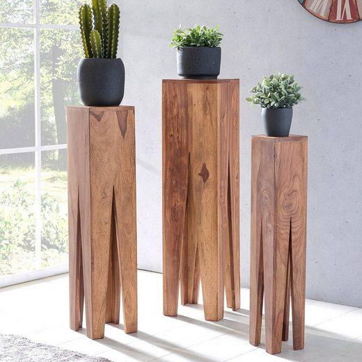 Lomadox Couchtisch, Beistelltisch 3er Set Massivholz Akazie Wohnzimmer-Tisch Design Säulen Landhausstil quadratisch B/H/T ca. 25/100/25cm
