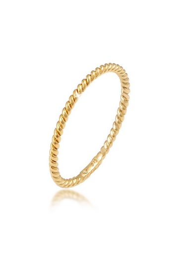 Elli Fingerring »Basic Twisted Gedreht Minimal Look 375 Gelbgold«