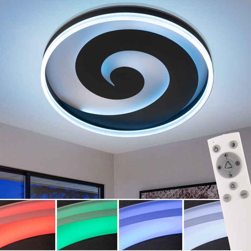 FISCHER & HONSEL Deckenleuchte, RGB LED Decken Leuchte FERNBEDIENUNG Wohn Zimmer Tages-Licht Lampe DIMMBAR Fischer Leuchten 20711