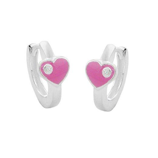 unbespielt Paar Creolen »Ohrschmuck Kinder Creole 12 x 2 mm Klappscharnier Herz rosa lackiert mit Zirkonia Silber 925 inklusive Schmuckbox«, Silberschmuck für Kinder