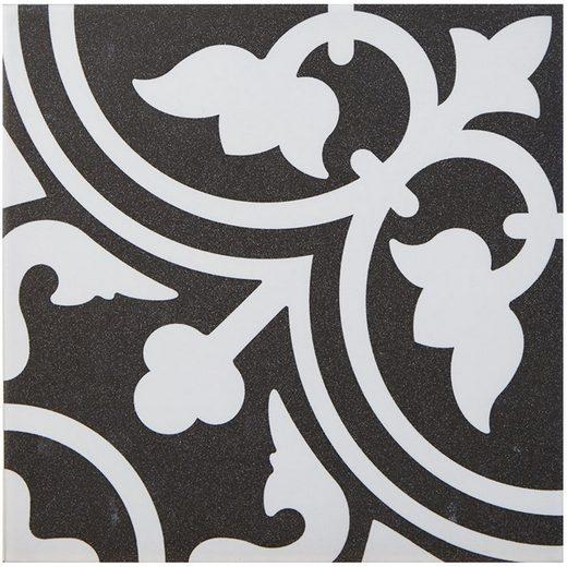 Casa Moro Terrassenfliesen »Mediterrane Keramikfliesen orientalisch Flavie Noir 20x20 cm 1 qm Feinsteinzeug in Zementoptik frostsicher, Bodenfliesen & Wandfliesen für schöne Küche Flur Wohnzimmer, FL7005«