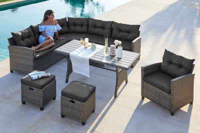 Konifera Loungeset Keros Premium 20 Tlg Ecklounge 2 Hocker Sessel Tisch Polyrattan