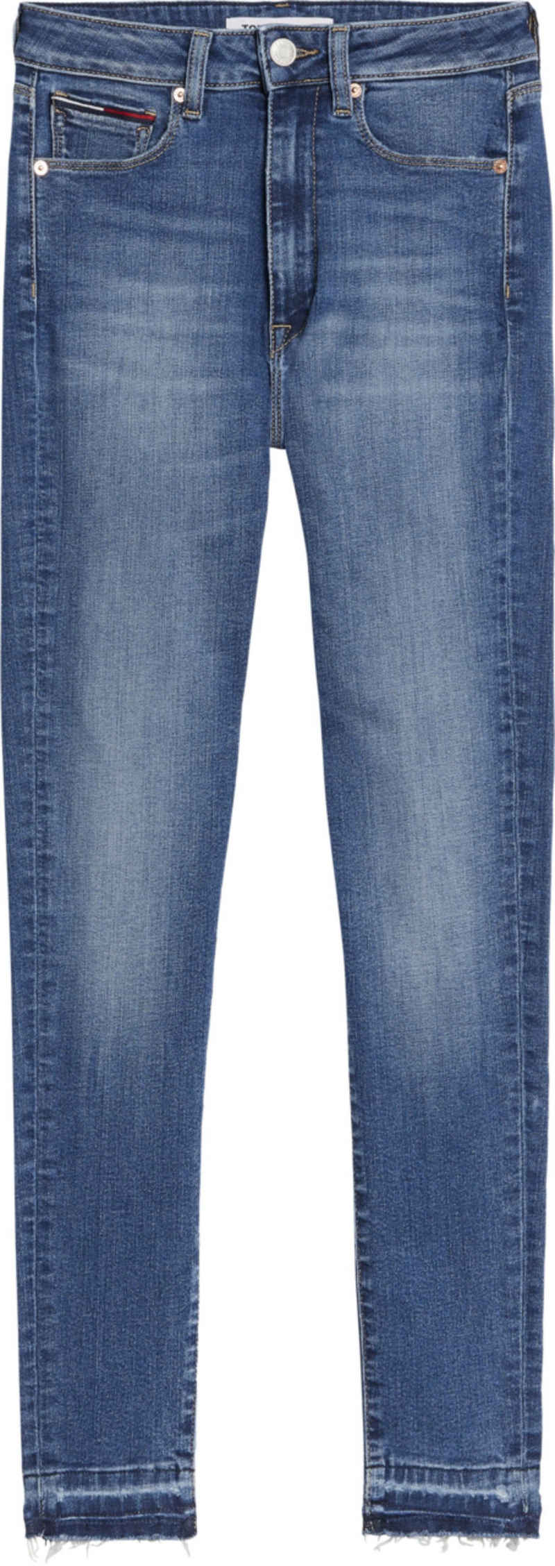 Tommy Jeans Skinny-fit-Jeans »SYLVIA HR S SKN ANKLE BE134 MBST« mit leicht ausgefranstem Saum