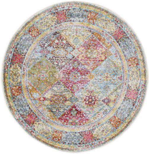 Teppich »Harleen«, carpetfine, rund, Höhe 8 mm, Vintage Look, Wohnzimmer