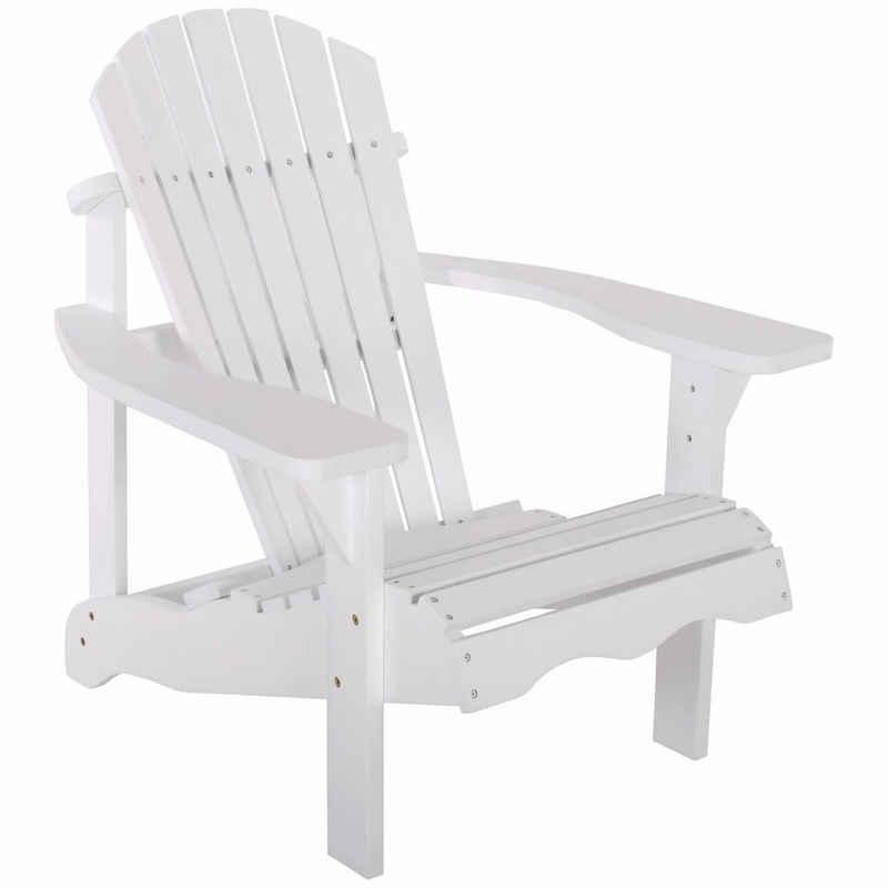 Raburg Gartenstuhl »SUNJA Premium in WEIß - Akazie Hartholz, lackierter XXL Design-Gartenstuhl Canadian Adirondack Deck-Chair / Hamburger Alsterstuhl, belastbar bis 150 kg«